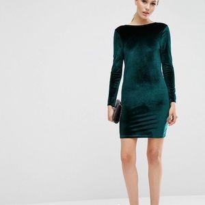 Velvet wrap back long sleeve mini dress